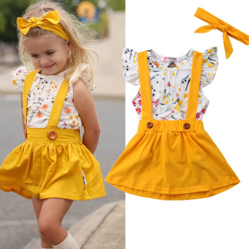 Toddler Girls Baby Clothes Floral Tops+Belt Skirt Dress 3PCS Outfits Set