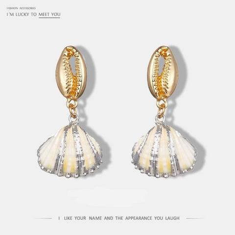 Fashion Chic Shell Fan Small Drop Dangle Earrings Zinc Alloy Geometric Statement Earrings For Women Charm Jewelry Brincos