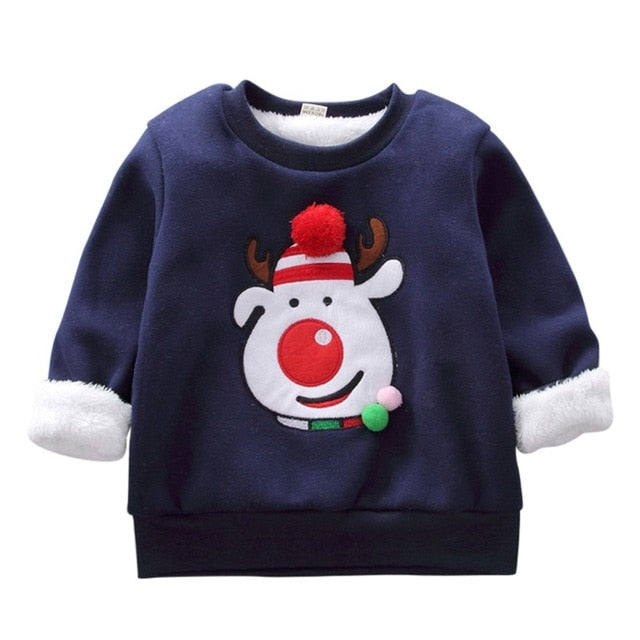 Autumn Kids Sweatshirts Baby Boy Girl Cartoon Christmas Pattern Long Sleeve Cotton Sweatshirt Casual Toddler Outerwear Clothes