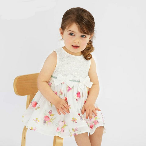 Summer baby girl princess clothes children birthday party wedding dress with bows boutique floral dresses
