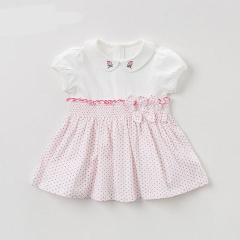 Summer baby girl's princess cute dress bow floral dots children party dress kids infant lolita girl clothes