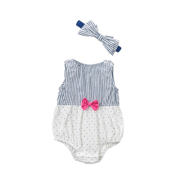 f58cf69f7 ... New born baby girls fashion jumpsuits cute bow striped infant toddler  clothes children summer romper ...