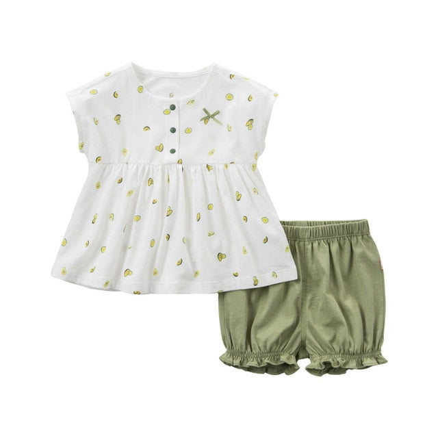 51db98963d323 Summer baby girl clothing sets cute bow fruit print children suits infant  high quality clothes girls outfit