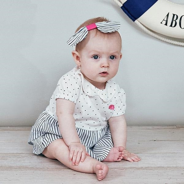 50e325c07 New born baby girls fashion jumpsuits cute dot striped infant toddler  clothes children summer romper ...