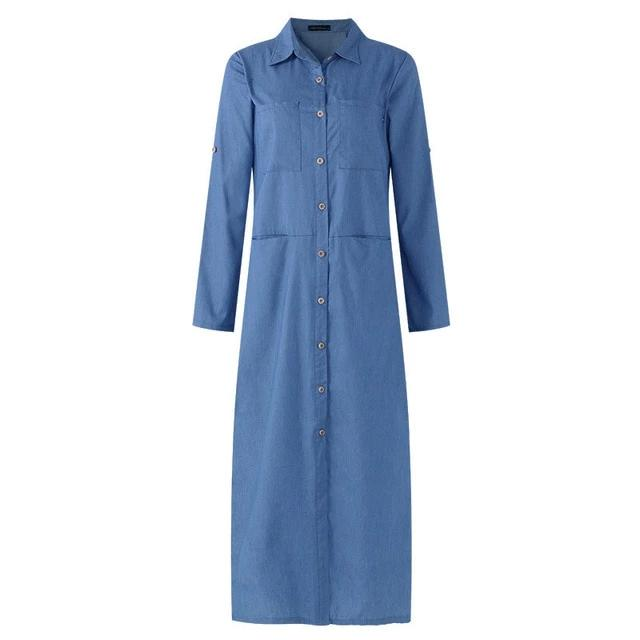 Denim Dress Women's Sundress Shirt Dresses Spring Button Maxi Vestidos Female Split Jeans Elegant Robe