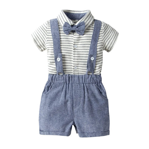 Summer boys girls cotton short-sleeved tie bow striped bodysuit harem shorts overalls jumpsuit 3pcs clothing sets birthday
