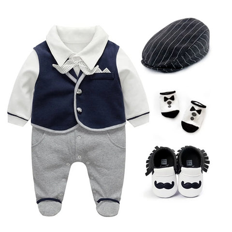 Baby Boy Outfit clothing sets Newborn Gentleman Suit Wedding Bow cotton Clothes Infant Clothing Set 1st Birthday Gift