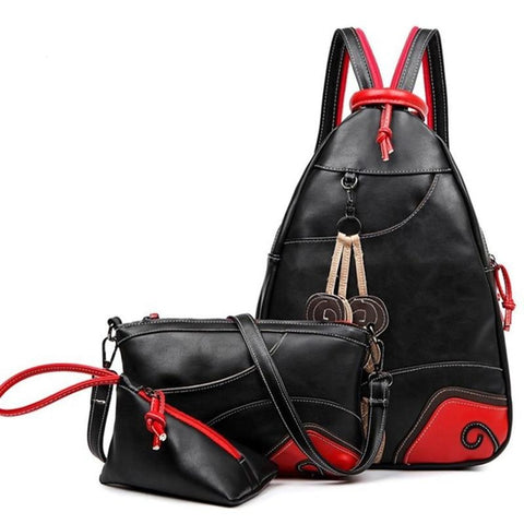 NEW Vintage Leaf Sewing Shoulder Backpack three sets Multifunction Chest Women Leather Backpacks Designers