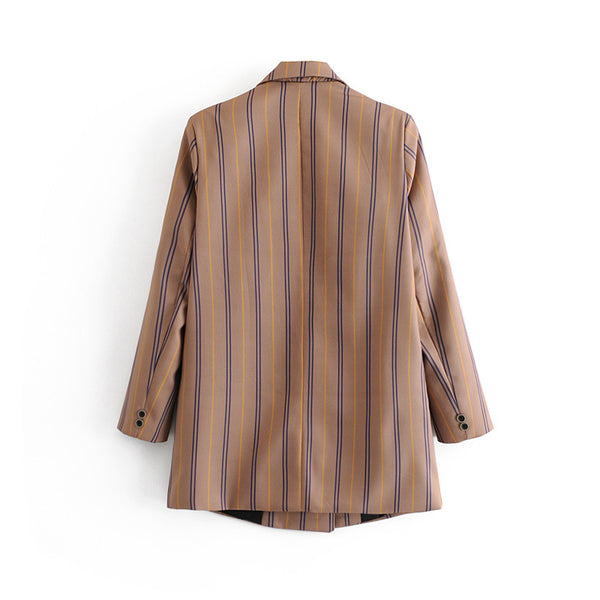 Women Striped Blazer Spring Double Breasted Long Sleeve Female Casual Coats Office Lady Blazers Outerwear Tops