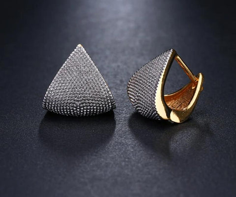 Unique Two Tone Originality Geometric Jewelry Earrings For Woman Charm Wedding Party Gift