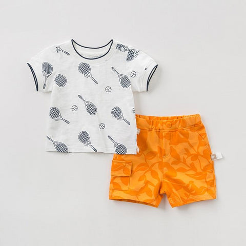 Summer baby boy fashion clothing sets boys casual short sleeve suits children print