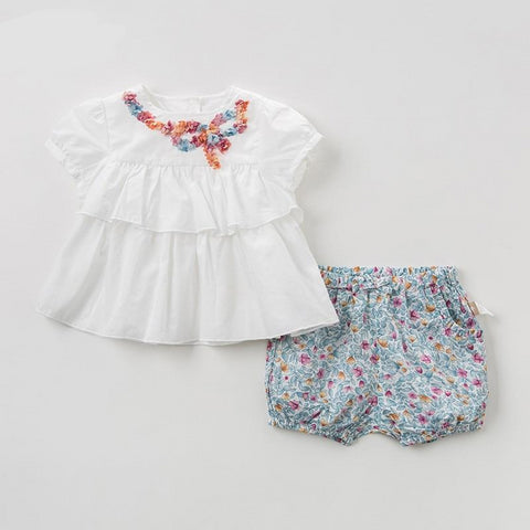 Summer baby girl clothing sets cute floral children suits infant high quality clothes girls flowers outfit