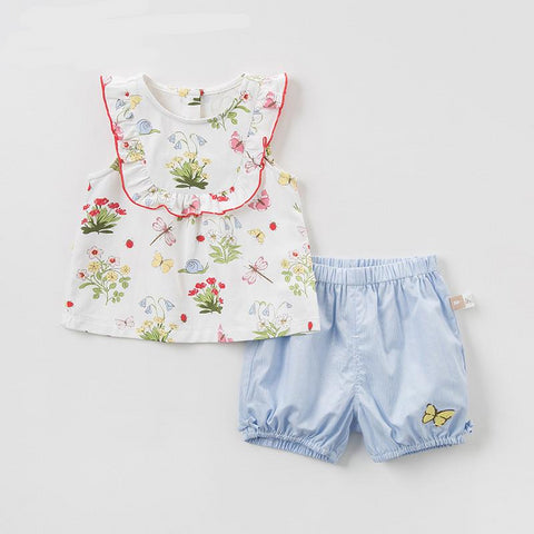 Summer baby girl clothing sets butterfly children suits  infant high quality clothes girls pullover outfit