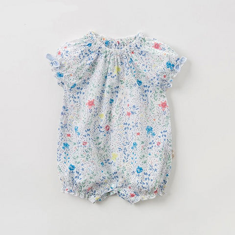 New born baby girls fashion jumpsuits cute floral bow infant toddler clothes children summer romper 1 piece