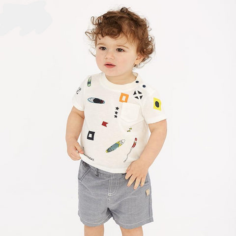 Summer baby boys fashion clothing sets casual short sleeve suits children beige clothes