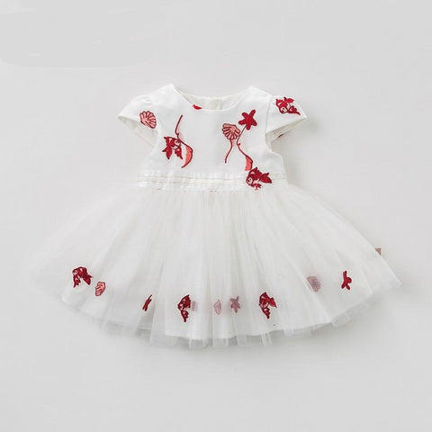 Summer baby girl's princess cute goldfish dress children fashion party dress kids infant clothes