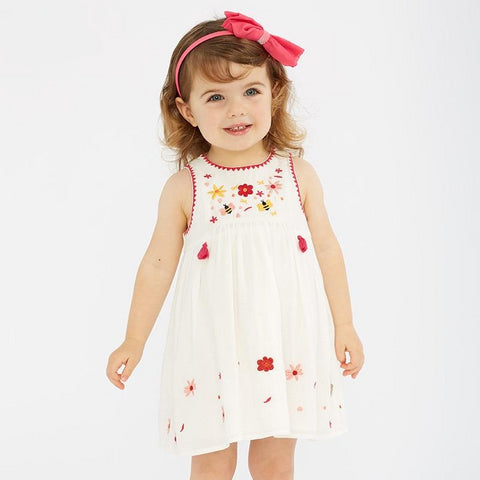 Summer baby girl's princess cute floral embroidery dress children party dress kids infant lolita clothes