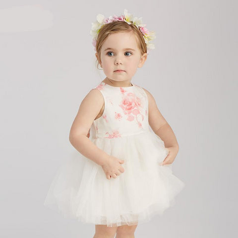 Summer baby girl's princess cute bow flowers dress children fashion party dress kids infant clothes