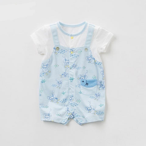 New born baby boys fashion print jumpsuits infant toddler clothes children summer cute romper 1 piece