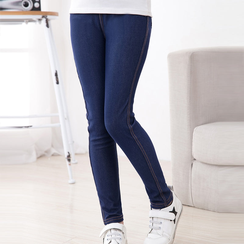 New Spring Summer Fashion Girls Pencil knit Imitation denim fabric Jeans Kids Candy Color Mid Waist Full Length pants