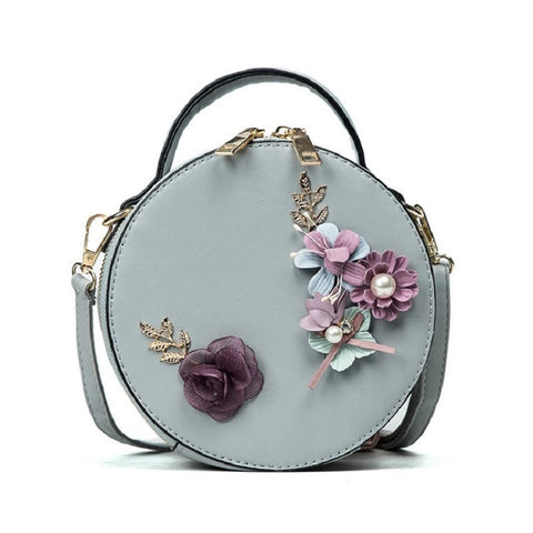 Women Circul Crossbody Bag Fashion Female Small Round Bag Floral Sweet Style Shoulder Bag For Teenage Girls