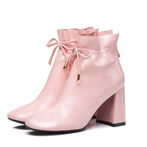 round toe lacework ruffles ankle boots brand women pink color model Hollywood star ankle boots