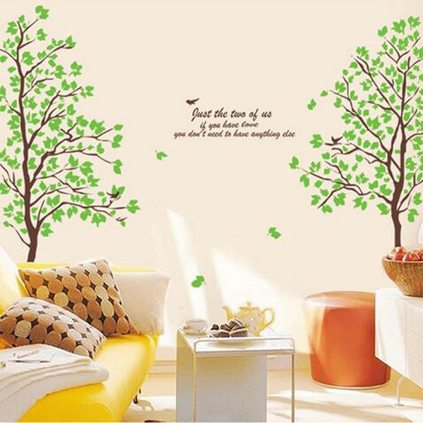 Green trees and birds sitting room bedroom home decoration wall stickers on the wall