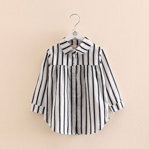 Girls Tops Spring Autumn Trend 2-10 Years Old Long Sleeve Kids Girl Stripe Blouses Shirts Full Sleeve