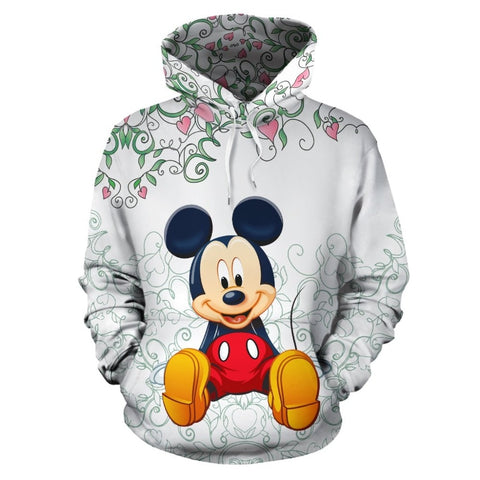 Mens 3d Print Mickey with peach blossom Hoodie Men Women Hooded Sweatshirt Autumn Thin Pullover Outwear