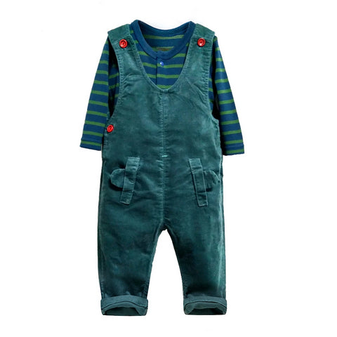 Autumn Winter Baby Clothing Sets Striped cotton rompers + corduroy overalls 2 pcs sets green Baby girls boys Suit infant clothes