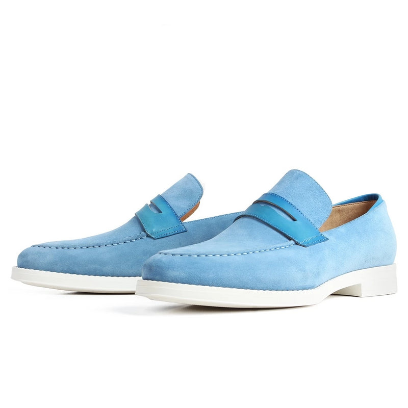 New Casual Men's Loafers Shoes Blue Slip-On Flat Fashion Footwear Male