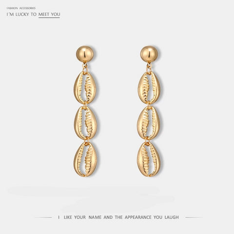 New Stylish Occident Simple Design Shell Chain Dangle Earring Zinc Alloy Gold Earring for Female Brincos Oorbellen Jewelry