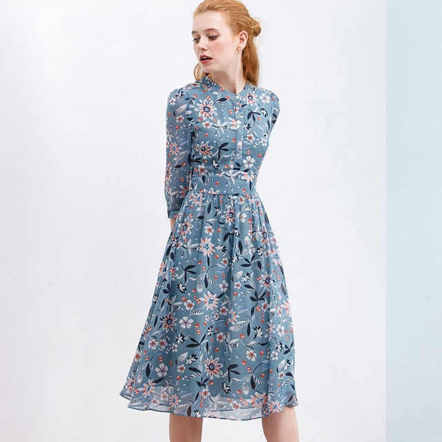 Autumn Print Dress Chiffon For Women Stand Casual Button Style Open The Chest Knee Dress Sweet