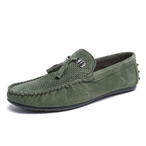 Loafers men tassel leather moccasins breathable driving shoes male green slip on italian loafers flats casual shoes