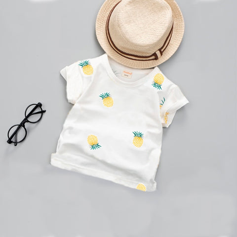 New toddler Baby New Summer Boys T Shirt Kids Tops Cartoon Pineapple Pattern Girls T-shirt Boys Clothes Children T Shirts