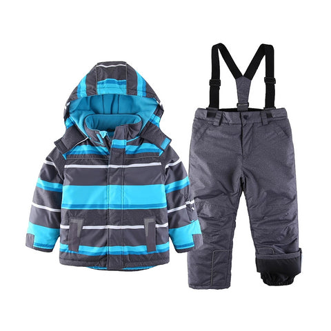 Snowsuit toddler Boy Outdoor Winter Warm Snow Suit hooded waterproof windproof padded European Size