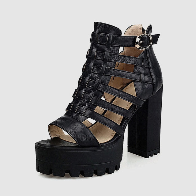 Women Wide Platform Gladiator Sandals High Chunky Heels Women Shoes Woman