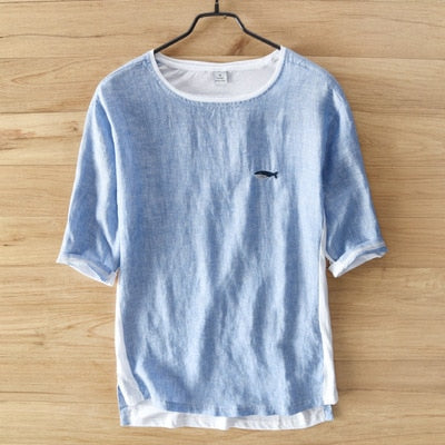 Summer Fashion Style Whale Embroidery Cotton Linen Short Sleeve O-neck T-shirt Male Casual Thin Tee Tshirts