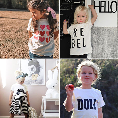 Toddler Boys Girls White T Shirt Children Summer Clothes Fashion Letter Pattern Tess Boy Tshirt Kids Rainbow T Shirt