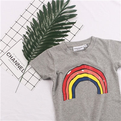 ac74add61 ... Fashion Brand Design Kids tshirt Boys and Girls Summer T Shirt Rainbow  Tshirt Kids Boys Tops ...
