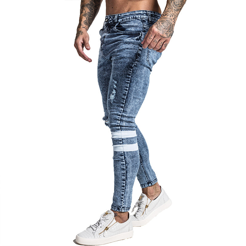 Mens Skinny Jeans Slim Fit Ripped Jeans Big and Tall Stretch Blue Jeans for Men Distressed Elastic Waist 32 Leg 30 zm49