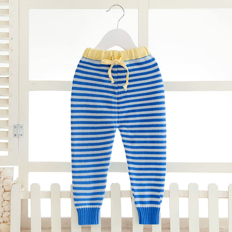 Baby Toddler Spring Autumn Cotton Knitted Pants Infant Striped Watm Lovely Trousers Girl Boy Winter Casual Soft Leggings AA12201