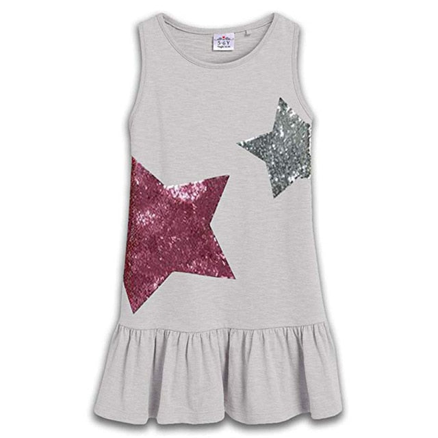 New Brand Summer Girls Dresses Sequined Girl Clothing Princess Dress Children Costume 100% Cotton Kids Clothes