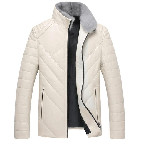 new arrival winter high quality sheepskin&mink fur collar white duck down jackets men,men's real leather coat,
