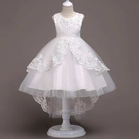 Children's dress female white princess dress baby girl dress summer birthday party flower girl costumes clothes