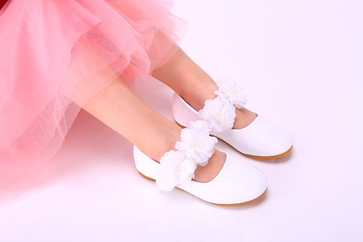 Spring Children Korea Flower Lace Pearl Leather Shoes Kids School Wedding Shoes Girls Party Dress Princess Single Shoes