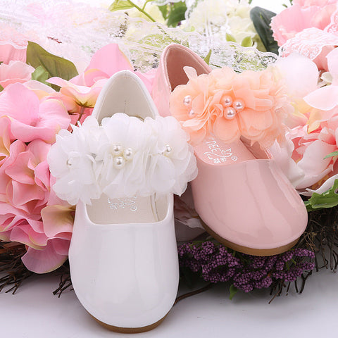 New Arrival Children Princess Leather shoes 2 colors Casual Baby Flower Pink Girls Fashion Brand Party Shoes