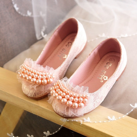 Girls leather shoes Spring style princess primary school students dance white leather shoes kids lace beading design shoes