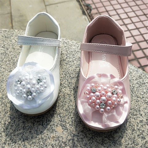 Girl Dress Shoes Autumn New Fashion Princess children Girl Party Solid Pretty school shoes Pearl Heart Shape Leather Kids Shoes