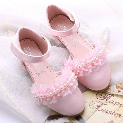 New Arrival Spring Children Shoes for Girls Princess Party Leather Shoes Flower Girl Beaded Lace Shoes Pink & White
